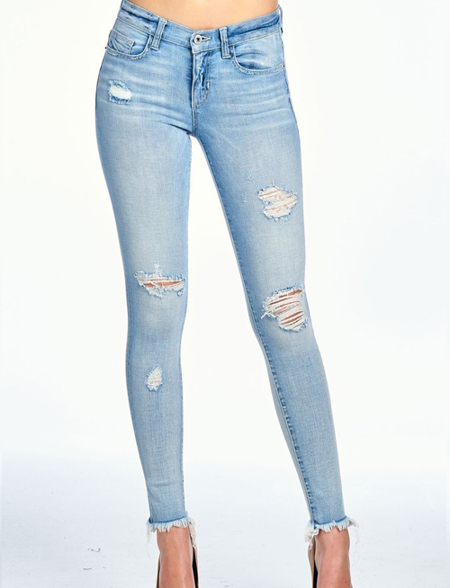 Unfinished Hem DIstressed Mid Rise Skinny