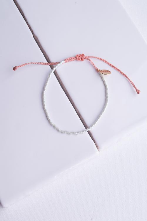 Mint Pearl & Coral Delicate Bead Bracelet