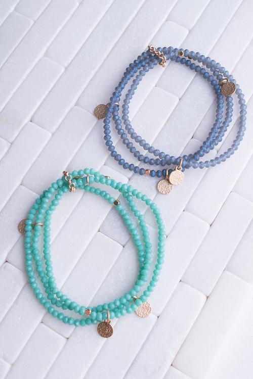 Glass Bead & Disc Bracelet