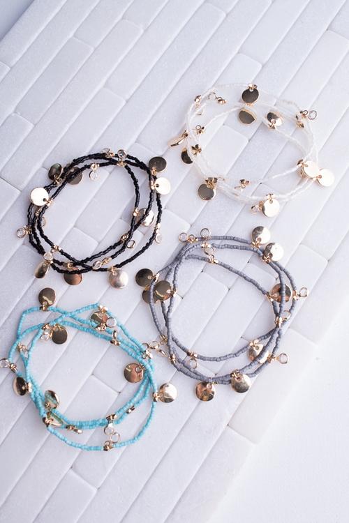 Disc & Bead Layer Bracelet