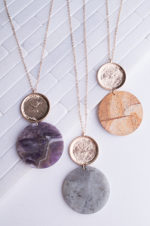 Stone Circle Pendant Long Necklace