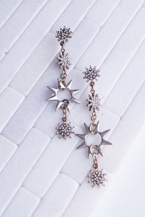 CZ Two Tone Star Drop Dangle