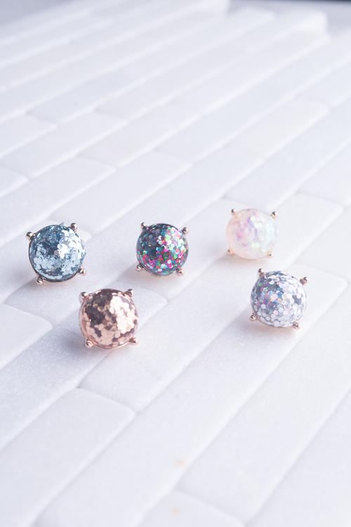 Round Glitter Stud