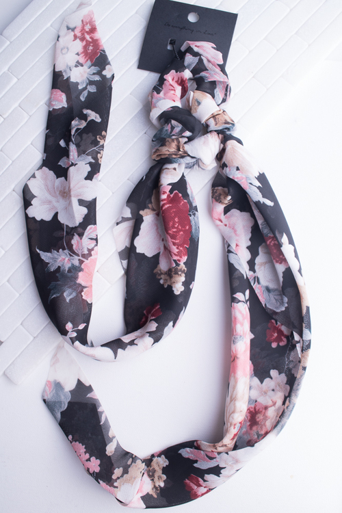 Black Floral Ribbon Scrunchie