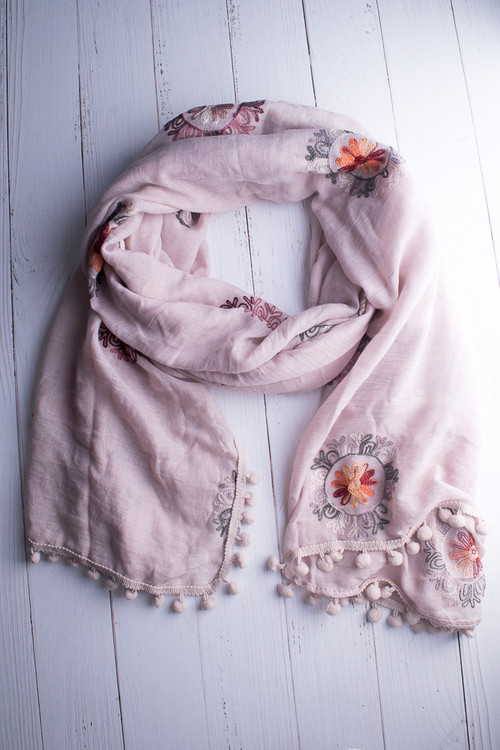 Embroidered Pom Scarf