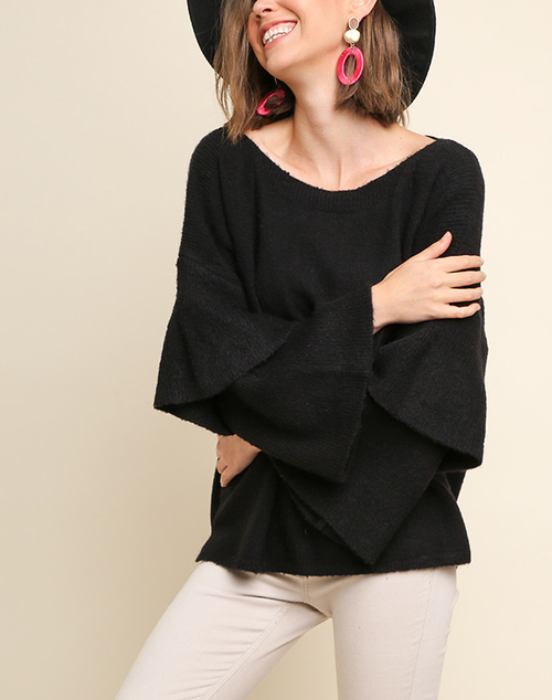 Layered Ribbed Ruffle Sleeve Knit Pullover Sweater