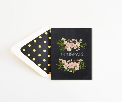 Congrats Charcoal and Blush Floral Card