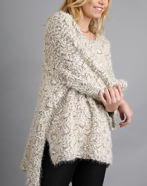 3/4 Sleeve Sweater W/ High Low Hem