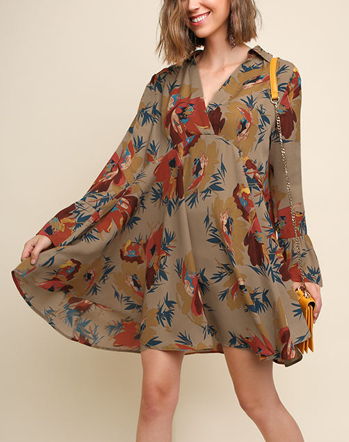 Floral Print Long Ruffle Sleeve Dress