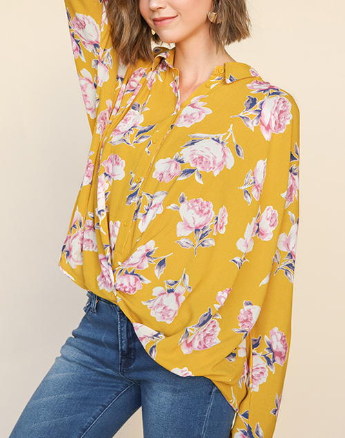 Floral Print Crossbody Button Up Top