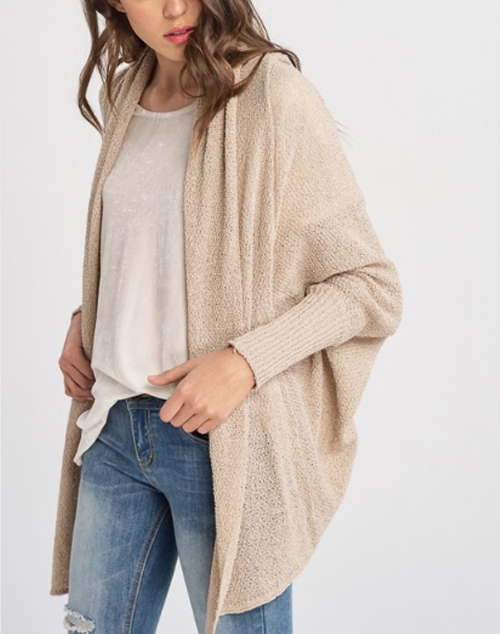 Long Batwing Sleeve Open Cardigan