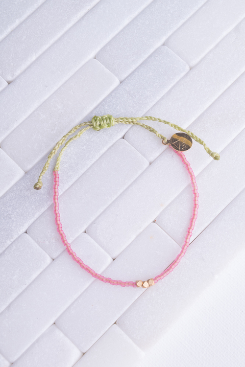 Seaglass Pink & Green Gold Bead Bracelet