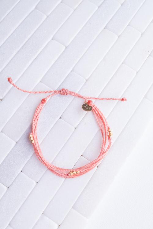 Coral Gold Beaded Bracelet