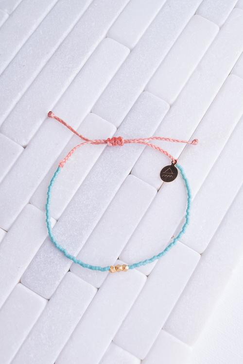 Teal & Coral Gold Bead Bracelet