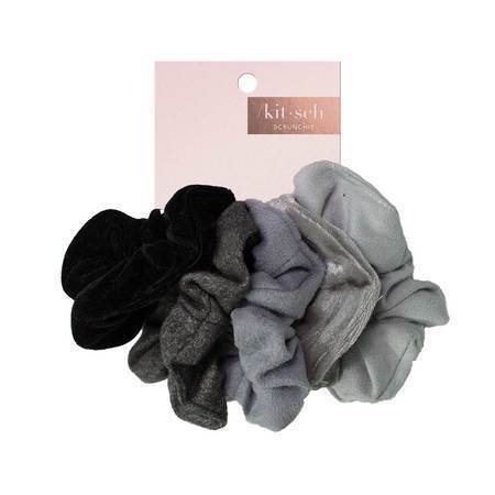 Velvet Scrunchies- Black/Grey