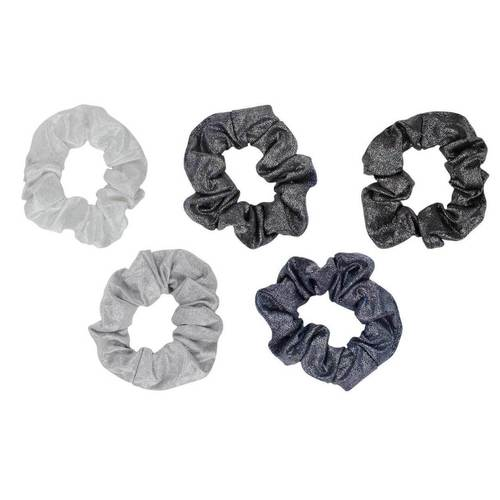 Metallic Scrunchies- Black/Grey