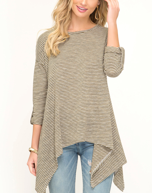 Long Sleeve Hankerchief Striped Top