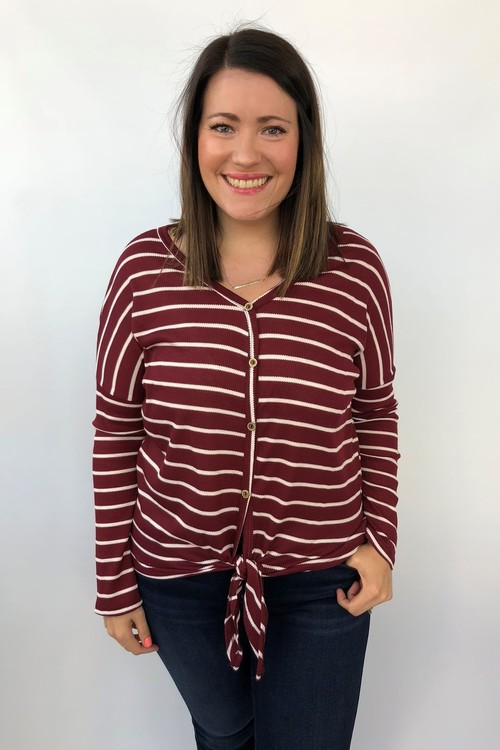 Striped Button Down Burgundy Knot Front