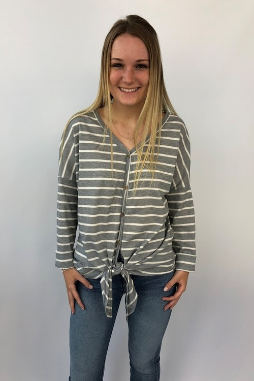 Striped Grey Knot Front Button Down