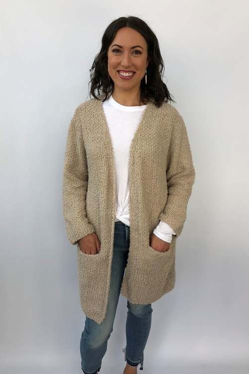 Wubby Long Sleeve Sweater Cardigan Taupe