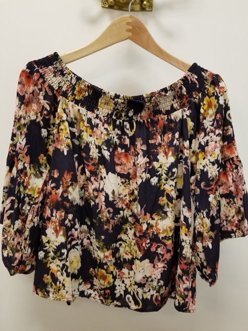 Navy Bouquet Off Shoulder Top