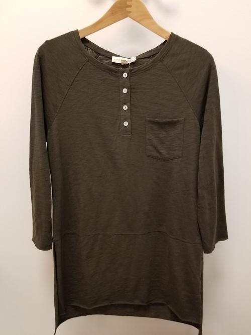 3/4 Sleeve Olive Slub Tunic