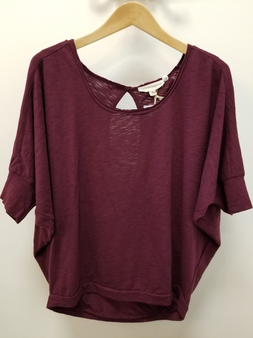 Dolman Sleeve Wine Scoopneck Top