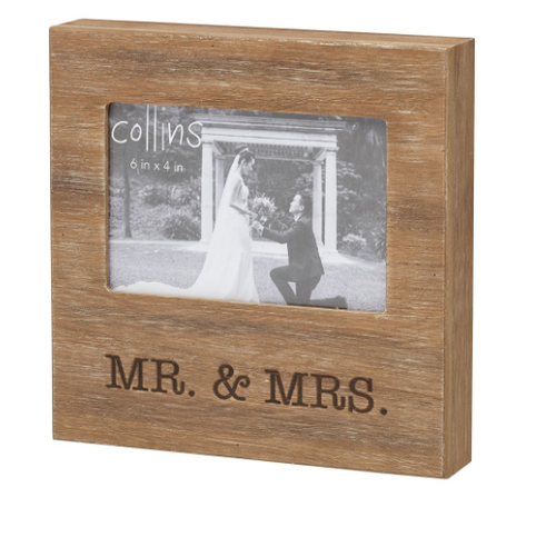 Mr & Mrs Burned Photo Frame