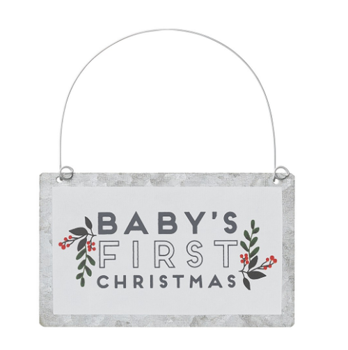 Baby's Festive Tin Ornament