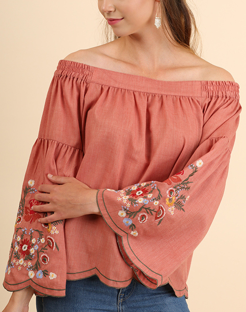 Off Shoulder Bell Sleeve Scalloped Floral Embroidered Top