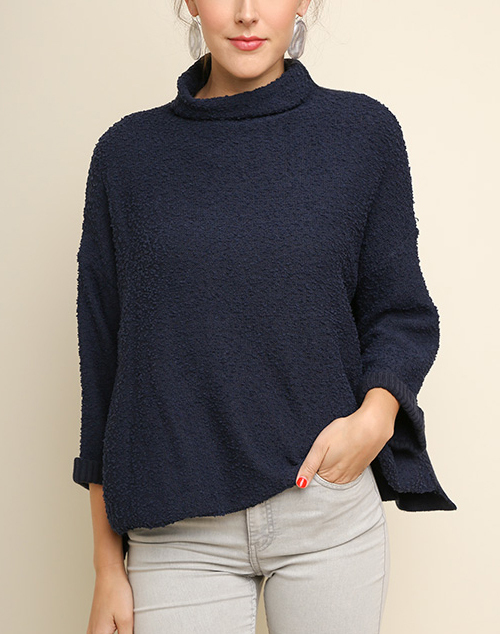 Knit Rolled Sleeve Sweater