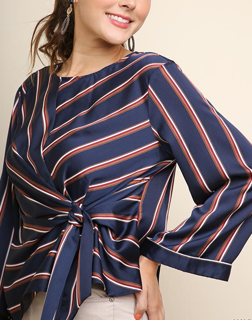 Striped Satin Tie Waist Long Sleeve Top