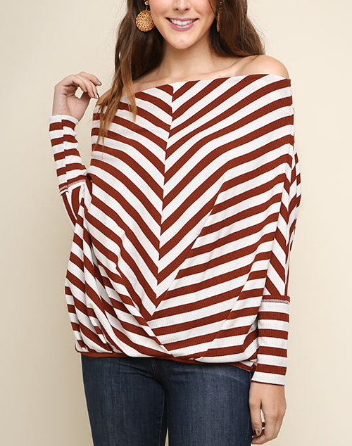 Striped Long Sleeve Dolman Off Should Top