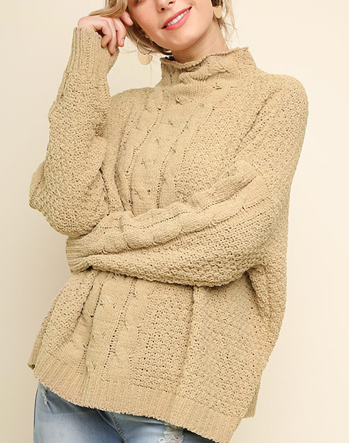 Long Sleeve Mock Neck Cable Knit Sweater