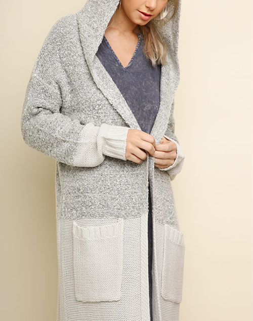 Long Hooded Knit Cardigan