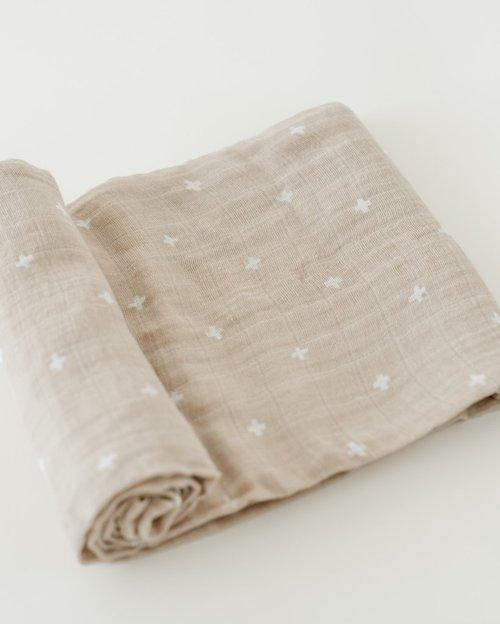 Taupe Cross Muslin Swaddle Blanket