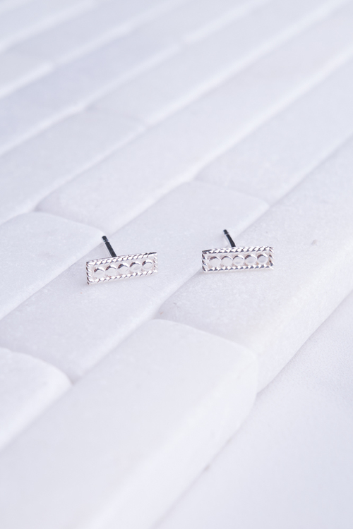 Petite Bar Stud Earrings - Silver