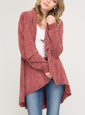 Long Sleeve Open Chenille Sweater