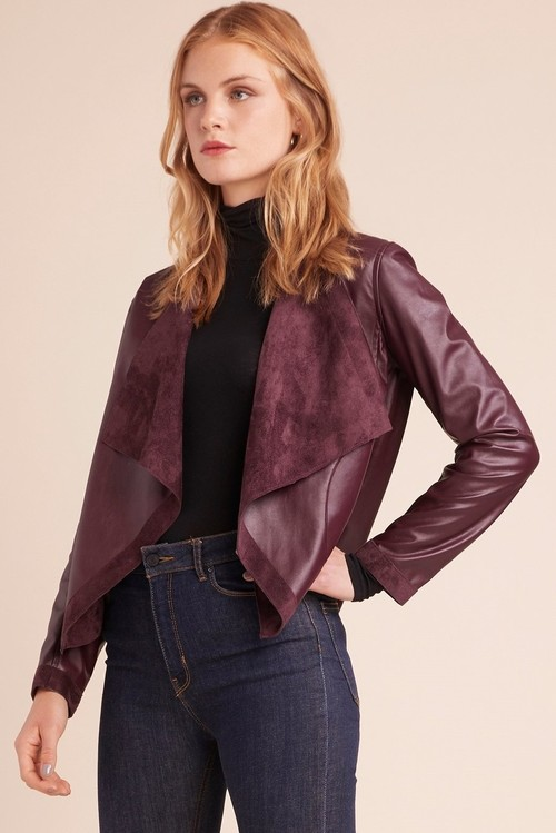 Reversible Teagan Suede Jacket Fig Maroon