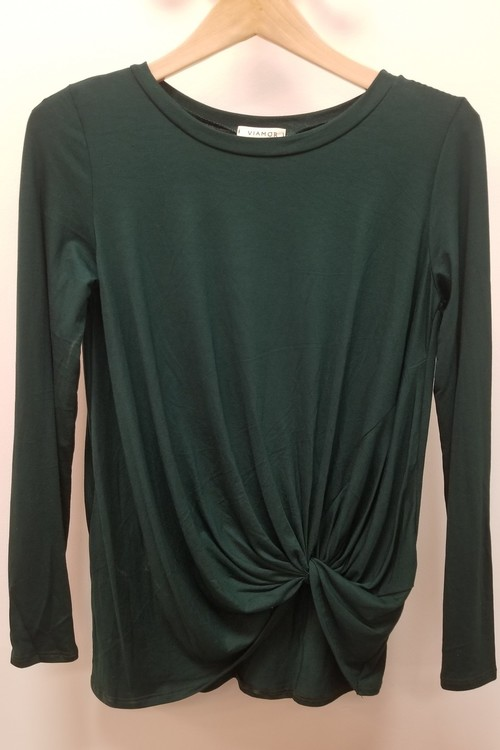 Hunter Green Twist Hem Top