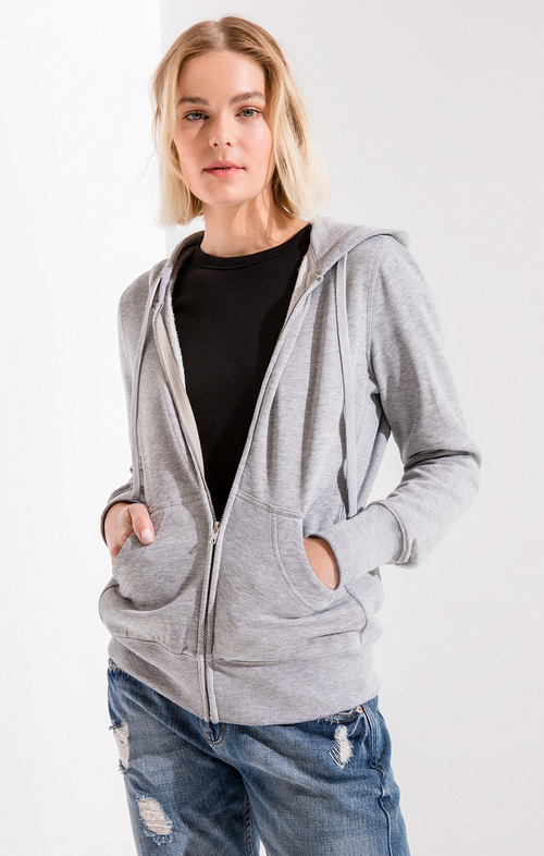 Heather Grey Fleece Zip Hoodie