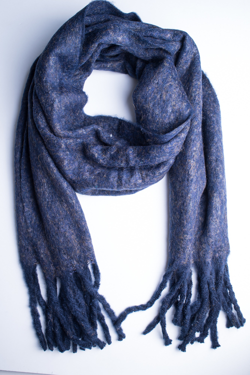 Soft Oversized Oblong Scarf - Navy