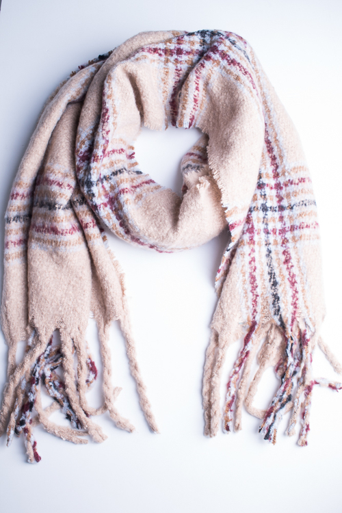 Oversized Plaid Oblong Scarf- Beige/Multi