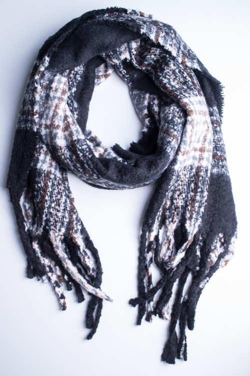 Oversized Plaid Oblong Scarf- Black/Multi
