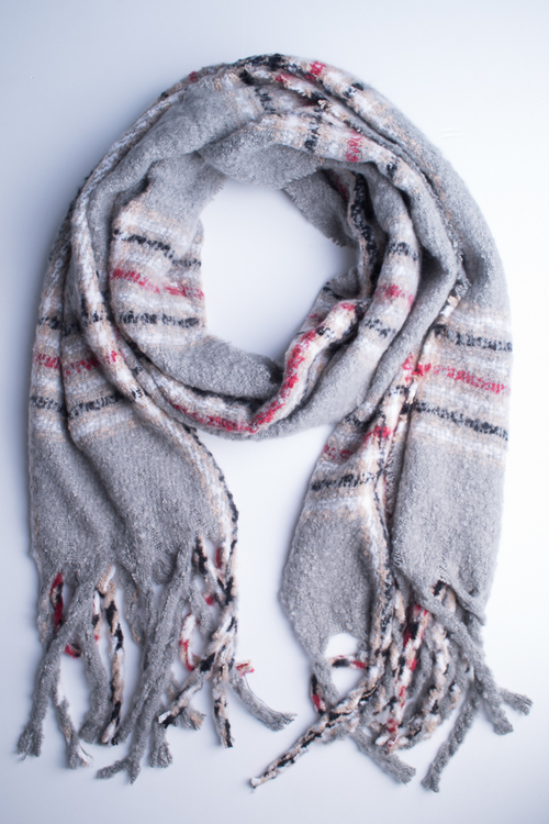 Oversized Plaid Oblong Scarf- Grey/Multi