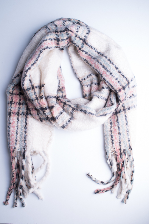 Oversized Plaid Oblong Scarf- Ivory/Multi