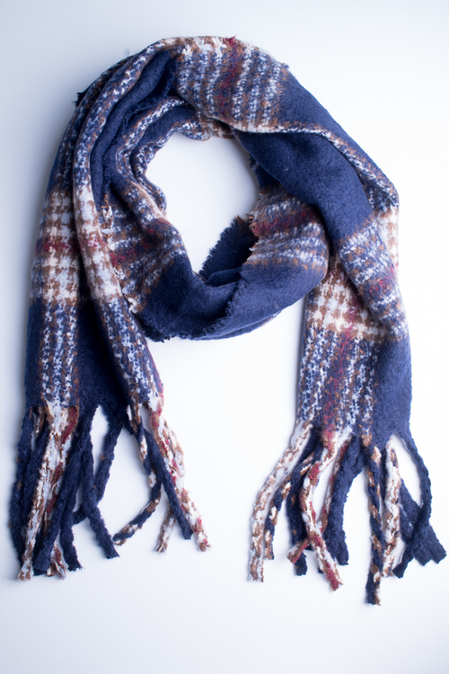 Oversized Plaid Oblong Scarf- Navy/Multi