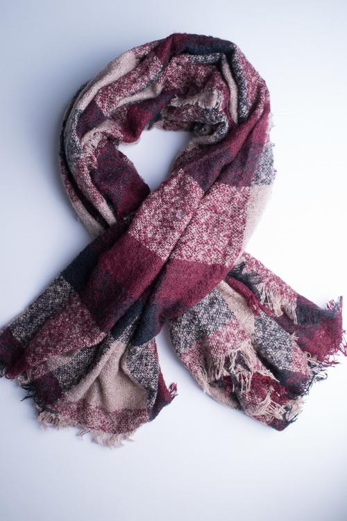Checker Pattern Square Scarf- Burgundy