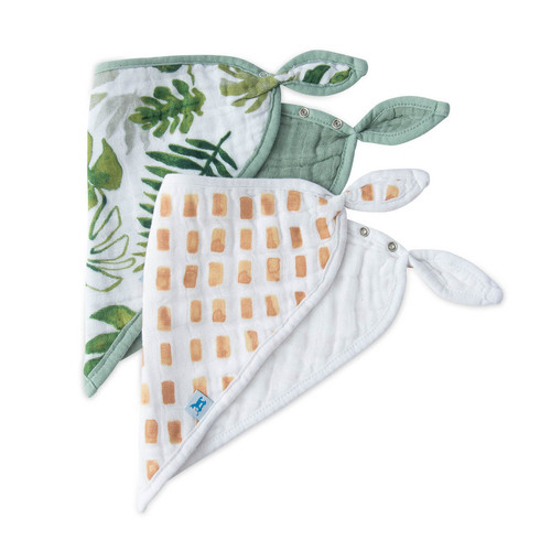 Cotton Muslin Bandana Bib Set- Tropical Leaf