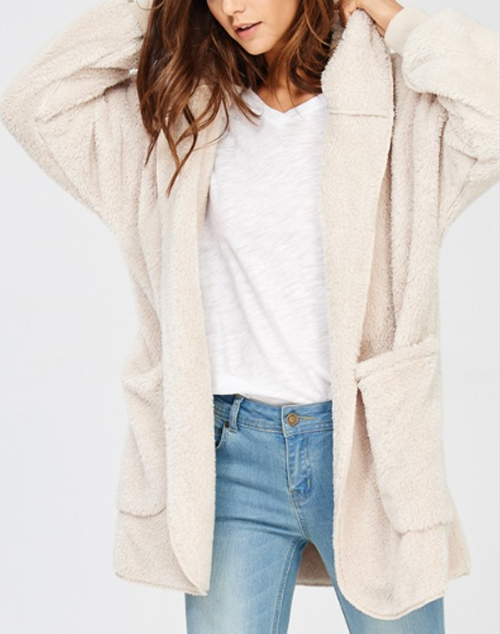 Fuzzy Hooded Long Sleeve Cardigan
